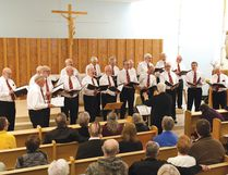 Photo by DAVID BRIGGS/FOR THE STANDARD The Men of Song performed for St. Patrick's Day in the St. Joseph's General Hospital Chapel.