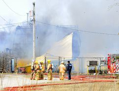 Fire destroyed a Quonset hut and its plasticized tarp at JLM Metal Recycling south of Townsend Centre Thursday afternoon. All employees were accounted for and there were no reports of injuries. MONTE SONNENBERG / SIMCOE REFORMER