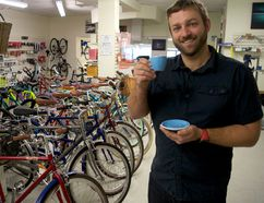 Ben Cowie, owner of London Bicycle Café, inside his shop on Clarence Street. The bike store/coffee house combo celebrates its grand opening March 24. (CHRIS MONTANINI\LONDONER)