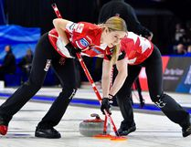Kaitlyn Lawes, vice skip for Canada, scouts the house during Ford World Women's Curling Championship semifinal action in North Bay at Memorial Gardens, Saturday. Canada beat the U.S. to earn a berth in the final against Sweden today at 3 p.m. Tom Martineau Photo