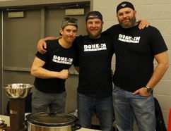 The team from Bone-In Catering were one of 20 at the fourth annual chili cook off in Norwich, Ont. on Saturday March 24, 2018 at the Norwich Community Centre hosted by the Norwich Optimist. The event had 20 teams and more than 200 silent auction items. From left: Bryan Phillips, Matt Taylor and Curtis DePlaneke. Greg Colgan/Woodstock Sentinel-Review/Postmedia Network