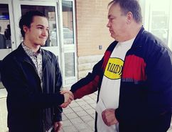 <p>Felix Laframboise, left, and Robert Cadieux shake hands outside the courthouse after the appeal of Laframboise's sentence for causing a collision that killed Cadieux's wife on Tuesday March 27, 2018 in Cornwall, Ont. </p><p> Alan S. Hale/Cornwall Standard-Freeholder/Postmedia Network