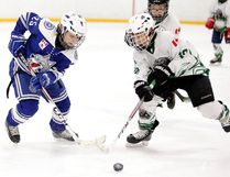 Kynlee Cresswell of the Sudbury Lady Wolves A battles for the puck against Trenton Essex of the Elliot Lake Wildcats player during Nickel District Minor Hockey League playoff action Alan Secord division A atom 2 championship in Sudbury, Ont. on Sunday March 25, 2018. Gino Donato/Sudbury Star/Postmedia Network