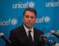 """BRYAN R. SMITH/Getty Images In this file photo taken on Sept. 6, 2016, UNICEF deputy executive director Justin Forsyth speaks during a UNICEF media briefing on the report """"Uprooted: The Growing crisis for refugee and migrant children"""" at UNICEF House in New York. Forsyth resigned on Feb. 22, 2018, resigned from the UN children's agency following complaints of inappropriate behavior towards female staff in his previous post as head of British charity Save The Children."""