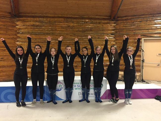 The Alberta North figure skating team proudly show off their silver medal win in the team event at the 2018 Arctic Winter Games on March 18 to 24. Supplied image/Tania Miller-Sauve