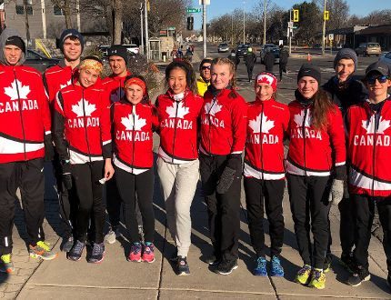 A group photo of the Thériault Flammes Cross-Country Running Team taken shortly before warm-ups in preparation for the Around The Bay five-kilometre race held in Hamilton last weekend.
