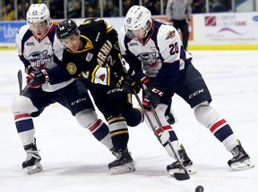 Sarnia Sting's Jonathan Ang (12) battles Windsor Spitfires' Zach Shankar, left, and Luke Kutkevicius in the first period during Game 5 in their OHL Western Conference quarter-final at Progressive Auto Sales Arena in Sarnia, Ont., on Friday, March 30, 2018. (MARK MALONE/Postmedia Network)