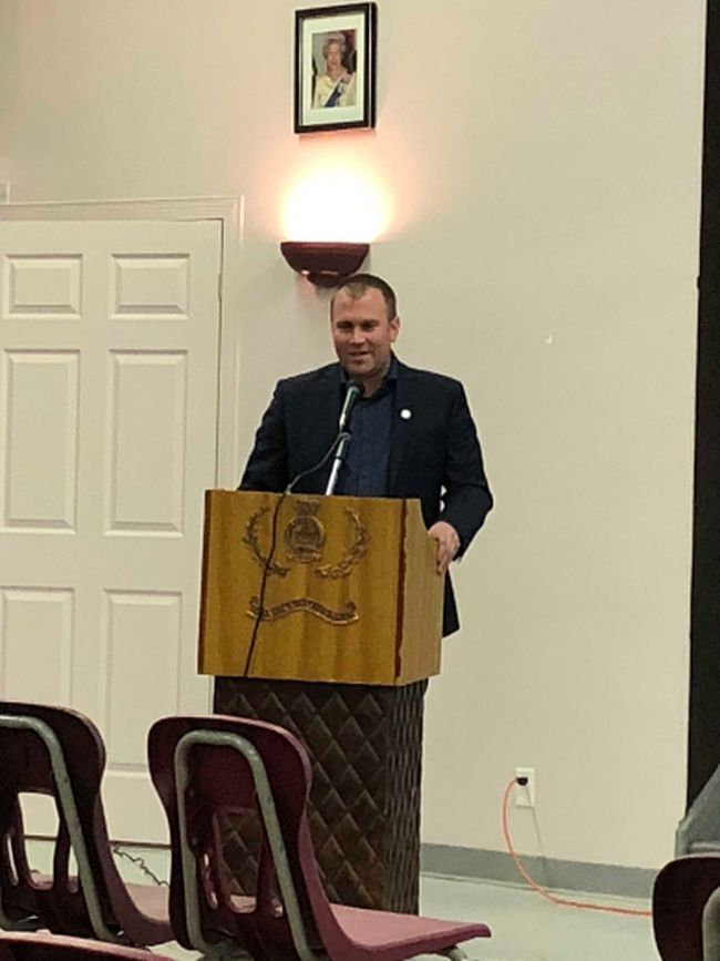 Timmins Mayor Steve Black at the Candidates Information Night at the Royal Canadian in Espanola on Thursday, March 29. Black is the youngest mayor ever elected in Timmins and he spoke about some of the challenges and rewards of being elected to municipal government.
