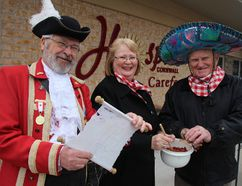 <p>Town crier Wes Libbey, Helen MacCallumn and Ken Brewin made some chili of their own at the announcement of the Charity Chili Challenge on Thursday March 28, 2018 in Cornwall, Ont. </p><p> Alan S. Hale/Cornwall Standard-Freeholder/Postmedia Network