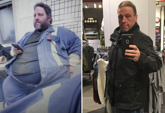 Tony Bussey is shown in this before and after photo that shows his weight loss in this handout combination photo. A Fort McMurray man is crediting the wildfire that devastated his Alberta city with saving his life by finally motivating him to lose more than half his body weight.Forty-three-year-old Tony Bussey, who works in the tire shop at Suncor's oilsands plant, weighed 567 pounds when the fires surrounded his workplace in 2016. THE CANADIAN PRESS/HO - Tony Bussey