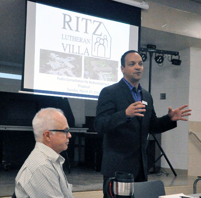 Ritz Lutheran Villa Administrator Jeff Renaud gave a brief demonstration on the re-development of their 19-acre campus in Mitchell during a public meeting held last Tuesday, March 27 at the Mitchell & District Community Centre. ANDY BADER/MITCHELL ADVOCATE
