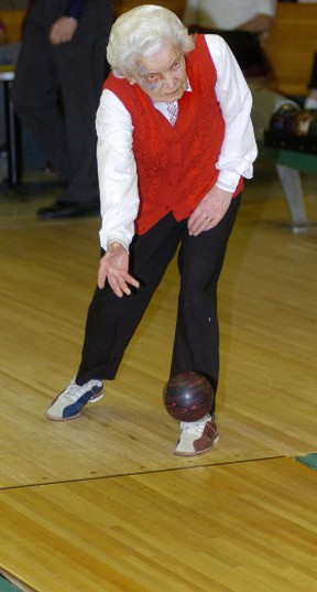 Hundred-year-old Anna Roxburg participated in bowling at a past Alberta 55 plus Winter Games.