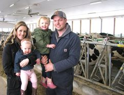 Dave and Kristen Scheele – shown with their children, one-year-old Kayla and three-year-old Sierra – operate an organic dairy farm near Wallacetown with Dave's parents, Ron and Corrie Scheele. The dairy farm is one of only 80 in Ontario that is certified as organic. The Scheeles' 100 or more dairy cows are fed a ration from crops that are GMO and chemical-free; the animals are also pastured over three seasons of the year. Peter Epp/Postmedia Network