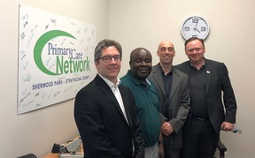 Mayor Rod Frank (far left) and Coun. Robert Parks (far right), pictured while taking a tour of the Sherwood Park Primary Care Network on Wednesday, maintain their position in voting against council's salary increase last week.  Twitter Photo