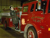 Ike Dyck in his earlier years with the Winkler Fire Department. He joined the department in 1966 when the Winkler Fire Chief was Percy Enns, the mayor was J. Epp, the premier was Duff Roblin, the prime minister was Lester B. Pearson and the U.S. President was Lyndon B. Johnson.