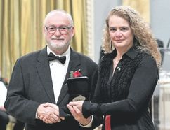 London artist Wyn Gelenyse with Governor General Julie Payette at Rideau Hall in Ottawa where he received his 2018 Governor General's Award in Visual and Media Arts