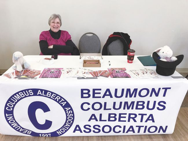 The Beaumont Columbus Alberta Association attended the Spring Community Awareness Event at the Beaumont Community Centre on Mar. 3 to raise awareness about the club, renew interest and promote its upcoming spring fundraiser.