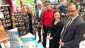 Sherwood Park's Home Hardware store hosted a joint federal and provincial government announcement on Thursday, April 5 to promote energy efficiency. Left to right: Sherwood Park MLA Annie McKitrick; vice-president of program delivery with Energy Efficiency Alberta Darryl Hill; local Home Hardware general manager Barry Novak; Environment Minister Shannon Phillips; and, federal Infrastructure Minister Amarjeet Sohi.  Photo Supplied