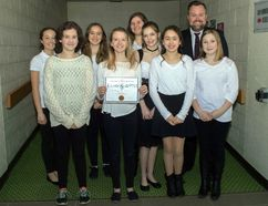 <p>The choir from North Dundas District High School was at Aultsville Theatre to compete in the 64th Kinsmen Music Festival on Friday April 6, 2018 in Cornwall, Ont. Students Kate Link-Horvath, Katie Wilson, Keira Bartlet, Madison Denneny, Rhiannon Erjavec, Natalie Brousseau, Alissa Buttivant, and Grace Seguin led by teacher Mr. Exner, performed Siyahambra and I'm A Believer.</p><p> Marc Benoit/Special to the Cornwall Standard-Freeholder/Postmedia Network