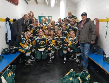 Members of the Humboldt Broncos junior hockey team are shown in a photo posted to the team Twitter feed, @HumboldtBroncos on March 24, after a playoff win over the Melfort Mustangs. THE CANADIAN PRESS/HO-Twitter-@HumboldtBroncos