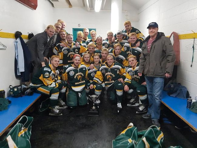 Members of the Humboldt Broncos junior hockey team are shown in a photo posted to the team Twitter feed, @HumboldtBroncos on March 24, after a playoff win over the Melfort Mustangs.