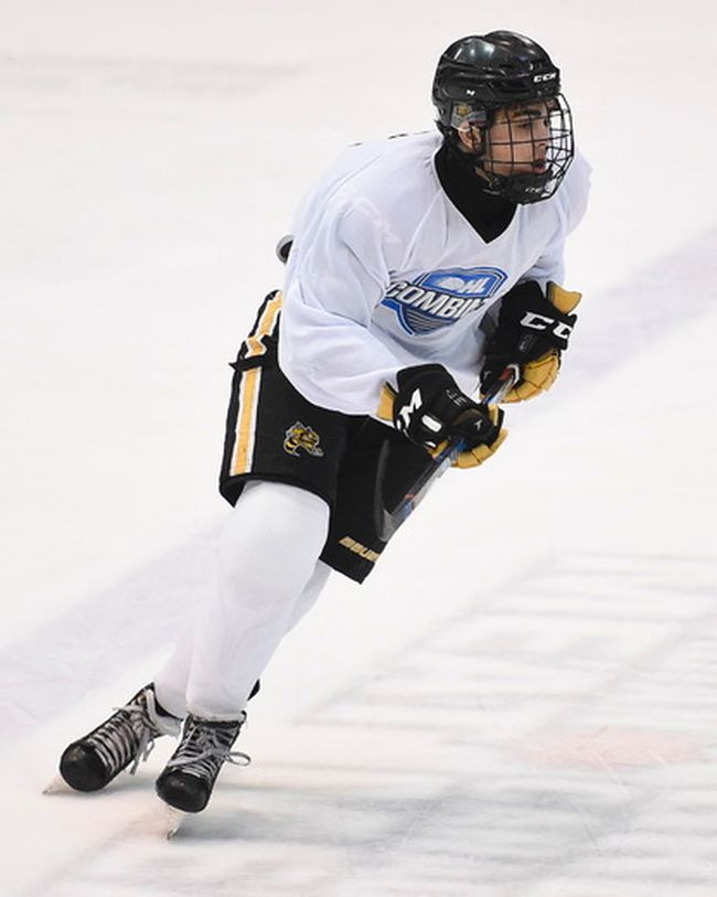 Blake Butler of the Lambton Jr. Sting takes part in the 2018 OHL development combine at the Tribute Communities Centre in Oshawa, Ont., on Sunday, March 25, 2018. (AARON BELL/OHL Images)