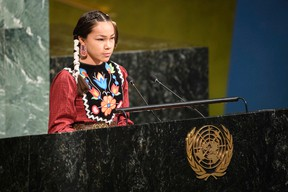 Autumn Peltier, 13, from Wikwemikong First Nation, speaks at the launch of the International Decade for Action on Water for Sustainable Development at UN headquarters on March 22.(Manuel Elias/United Nations)