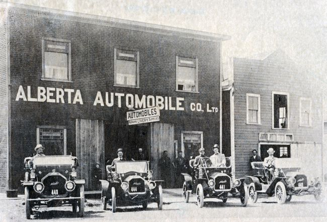 PHOTO COURTESY OF THE MUSEUM OF THE HIGHWOOD. Alberta Automobile Co. with the first four McLaughlin cars sold in High River, 1910.