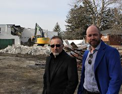 The clean up of a former industrial site at 33 Jarvis St. is underway. Plans call for 30 townhouse-style condominiums to be built on the site. The housing development is being done by Recchia Developments and the units are being sold through The Crew Real Estate. Fernando Recchia, of Recchia Developments, and Ryan Campbell, of The Crew, were at the site this week. (Vincent Ball/The Expositor)