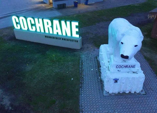 Cochrane's welcome sign, located on the Trans Canada Highway will be lit green for fifteen days.