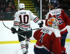 Brockville Braves Eric Faith celebrates after scoring a goal during Game 4. (File photo)