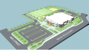 Photo supplied This is an artists conception of the new school that will serve two school boards in Espanola.