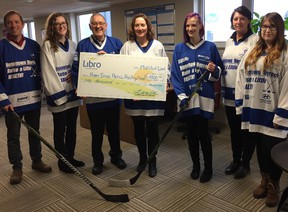 (L- R): Gateway Centre of Excellence in Rural Health's Jay McFarlan, Taryn Siertsema and Dan Stringer, Goderich LIBRO Branch Manager Tanya Quipp, and LIBRO Financial Service Representative Katie Zembashi, Jennifer Yule from AMGH, and Gateway's Marina Glanville. (Contributed photo)