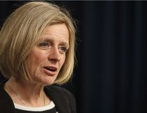 Alberta Premier Rachel Notley gives a statement about the recent status on the Kinder Morgan pipeline expansion, in Edmonton Sunday.