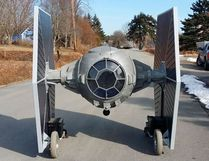 "A Nova Scotia man has hand-built the dream ride of ""Star Wars"" fans: A remote-controlled TIE fighter replica. Allan Carver of Queensland, N.S. welded together steel, foam and scrap wheelchair motors to create a two-metre tall replica of the Imperial Fleet's go-to fighter. Allan Carver / THE CANADIAN PRESS"