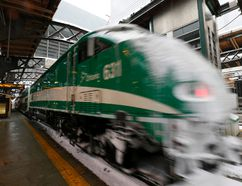 A GO Train exits a station. CNL has completed a feasibility study for Metrolinx on the viability and economic impacts of adopting hydrogen fuel cell (HFC) trains on the GO rail network.
