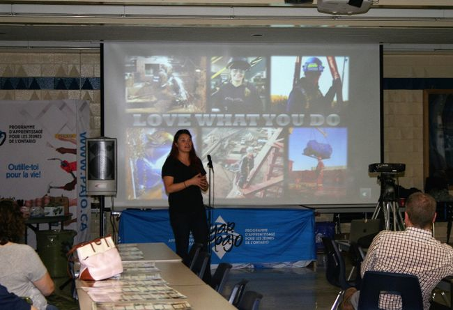 "Pathways guest speaker Jamie McMillan spoke about how finding her place in the trades, first as an ironworker and more recently as a boilermaker apprentice, ""saved her life"" after being lost in unfulfilling work after finishing school. McMillan, originally from Timmins, now travels North America to speak to youth and adults about her inspiring story and promote technical trades. (SHEILA PRITCHARD/CLINTON NEWS RECORD)"