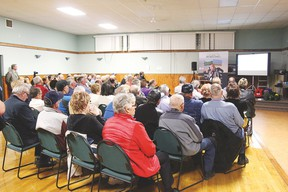 Residents living in Alberta's Industrial Heartland listen to a presentation during a Life in the Heartland community information session in Bruderheim.   Photo courtesy Life in the Heartland