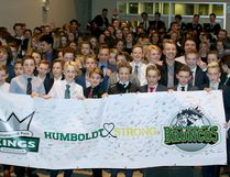 All 11 Sherwood Park Kings rep hockey teams signed and posed with a banner to support the victims and families of the Humboldt Bronocs bus disaster on Tuesday night. Photo courtesy Target Photography