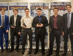 Submitted Photo Members of the Midget AA Storm (left to right) Cody Quinton, Tanner Vinck, Tanner Davy, Keaton Mercredi, Daniel Graber and Brock Wallace display their well-earned hardware as the Grande Peace Athletic Club handed out its annual awards on Wednesday night at Evergreen Park.