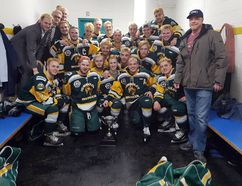 Members of the Humboldt Broncos junior hockey team are shown in a photo posted to the team's Twitter feed. Fifteen members of the team died following a collision with their team bus and a tractor-trailer. A GoFundMe campaign has raised $7.7 million as of Tuesday evening. Photo courtesy of the Humboldt Broncos Twitter.
