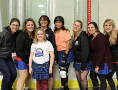 Almost half the membership of the Grey Bruce Highland Dames roller derby team are from South Bruce Peninsula and area. Posing for a photo before their home opener at the Shallow Lake Arena on April 7 were: Cindy McNamara (left), of Wiarton; Nicole Markland and daughter Delilah (front), of Sauble Beach; Kay Fawcett, of Big Bay; Heather Strachan, of Wiarton; Jennifer Bailey, of Big Bay, and Chelan Carriere and Lindsay Mahy, of Sauble Beach. Photo by Zoe Kessler/Wiarton Echo