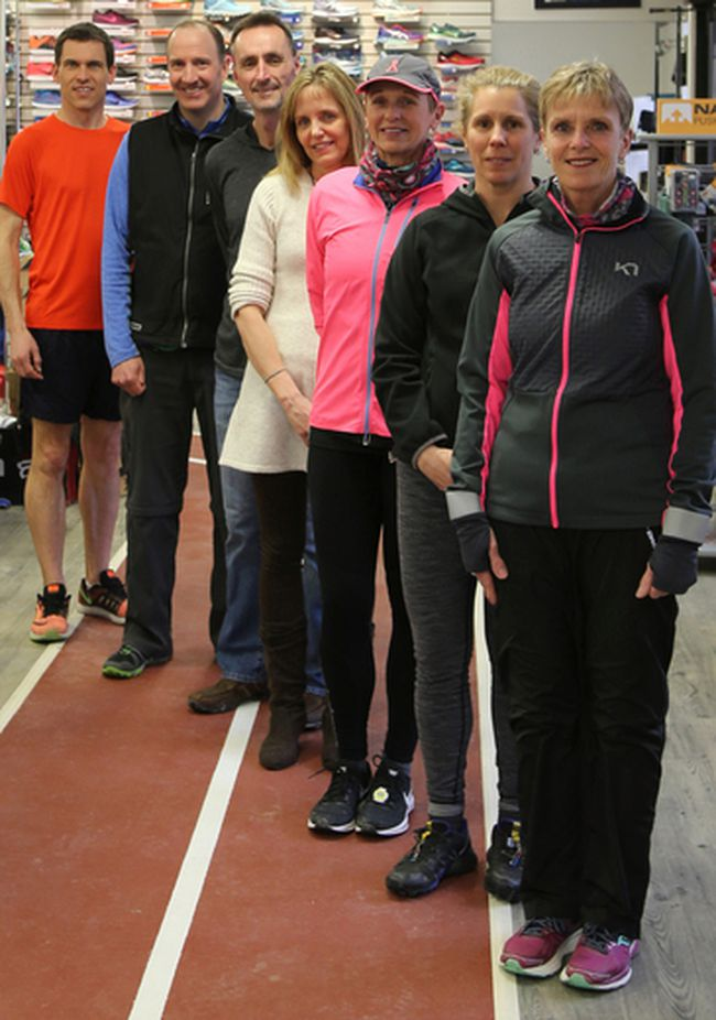 From left to right, Scott Greig, Bob Scheifele, Richard Weeks, Tracey Hebert, Lynita Spencer, Robin Coombes, and Leeanne Walker gathered at the Runner's Den in Owen Sound on Thursday. The local runners will participate in the 2018 Boston Marathon on Monday. Greg Cowan/The Sun Times