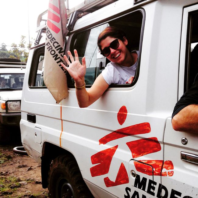 Sudbury nurse Julia Fedec waves from a Doctors Without Borders vehicle during a mission to the Democratic Republic of Congo. (Photo supplied)