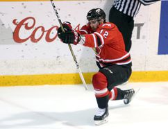 Brett McKenzie celebrates his goal, the Attack's fifth, in the second period of Game 6 between the Owen Sound Attack and Sault Ste. Marie Greyhounds at the Harry Lumley Bayshore Community Centre on Sunday. Greg Cowan/The Sun Times