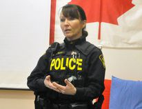 Laura Brown, Community Safety/Media Relations officer with the Perth County OPP, offered a 40-minute presentation called Raising Our Children In A Digital World at Upper Thames Elementary School (UTES) last Tuesday, April 10. ANDY BADER/MITCHELL ADVOCATE