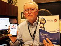 Dave Colvin, Perth County's emergency management co-ordinator, shows the new Alert Ready logo on his phone. TERRY BRIDGE/POSTMEDIA NETWORK
