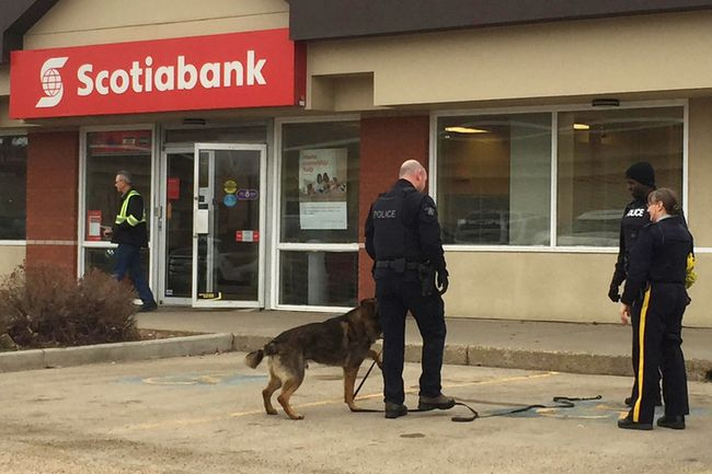 Fort Saskatchewan RCMP searched the properties near the downtown Scotiabank on Monday morning to located the suspected robber but came up empty handed.