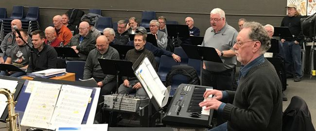 Simcoe Lions Club members rehearse for their annual spring production slated for Friday and Saturday night at the Simcoe Composite School auditorium. This year's show is titled Get into the Groove and features musical hits from the '70s interspersed with hilarious skits. Contributed photo