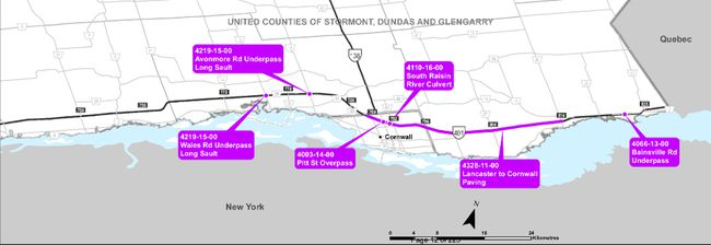 <p>Projects in the works for 2018 along Highway 401 in Cornwall and SDG. Map produced by the Ontario Ministry of Transportation.</p><p> Handout/Cornwall Standard-Freeholder/Postmedia Network